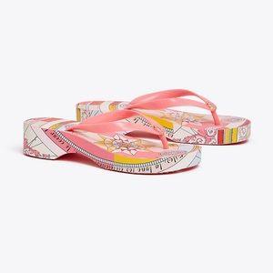 NIB Tory Burch Pink Constellation Wedge Flip Flops
